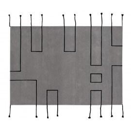 Tapis scandinave avec franges gris clair Nordic Lines Lorena Canals