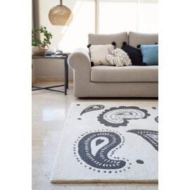 Tapis motifs Paisley noir et blanc Indra Lorena Canals