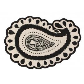Tapis forme Paisley noir et blanc en laine et coton Gita Lorena Canals