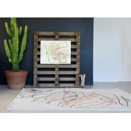 Tapis rayé moderne multicolore Scribble Lorena Canals