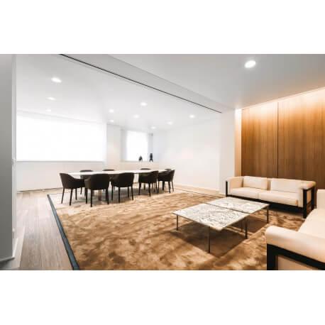 Tapis de salon moderne en polyamide tufté caramel chocolat Pax Angelo