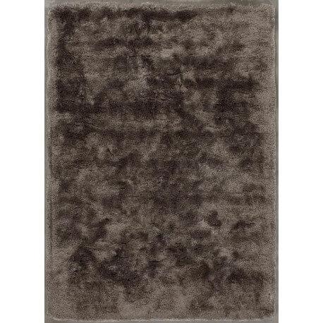 Tapis moderne à longues mèches en polyester marron glacé Bergamo Angelo