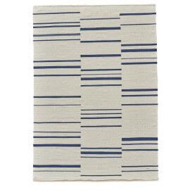 Tapis plat contemporain en laine beige bleu clair et foncé Hazara Angelo