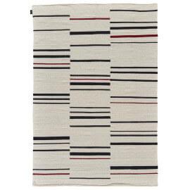 Tapis plat contemporain en laine beige noir et rouge Hazara Angelo