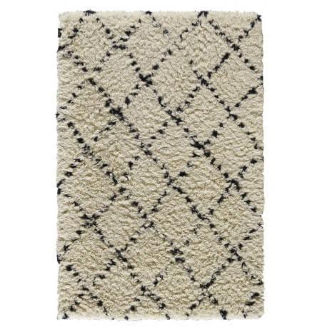 Tapis à longues mèches en laine de Nouvelle-Zélande beige et noir Zagora Angelo
