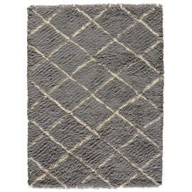 Tapis à longues mèches en laine de Nouvelle-Zélande gris et beige Zagora Angelo