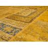 Tapis kilim en laine et coton recyclé style vintage jaune Up-Cycle Angelo