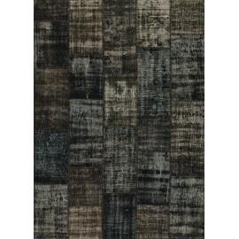 Tapis kilim en laine et coton recyclé style vintage noir Up-Cycle Angelo