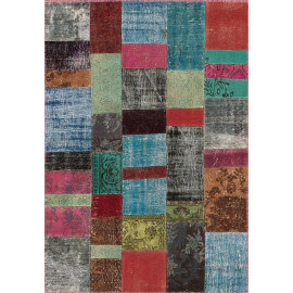 Tapis kilim en laine et coton recyclé style vintage multicolore Up-Cycle Angelo