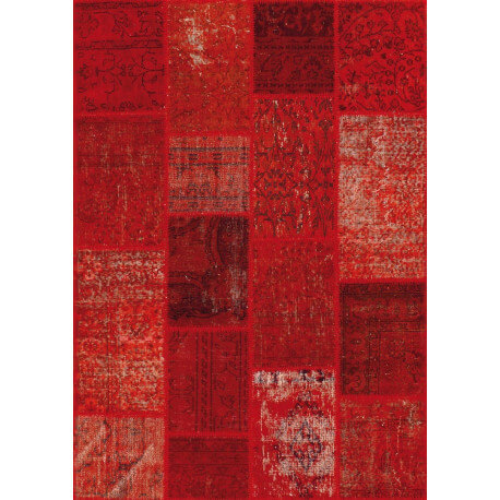 Tapis kilim en laine et coton recyclé style vintage rouge Up-Cycle Angelo