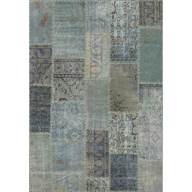 Tapis kilim en laine et coton recyclé style vintage bleu Up-Cycle Angelo