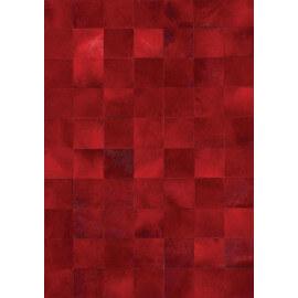 Tapis patchwork en peau de vache rouge Starless Angelo