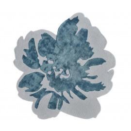 Tapis floral en laine et viscose turquoise et beige Spring Angelo