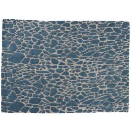Tapis turquoise contemporain en laine et viscose Stream Angelo
