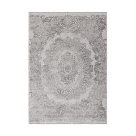 Tapis baroque effet 3D avec franges argenté Diego