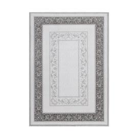 Tapis floral baroque acrylique brillant gris Jesper