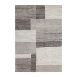 Tapis contemporain gris noué main Goa
