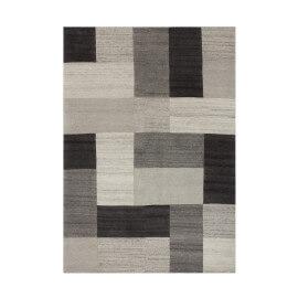 Tapis naturel géométrique en laine gris Goa