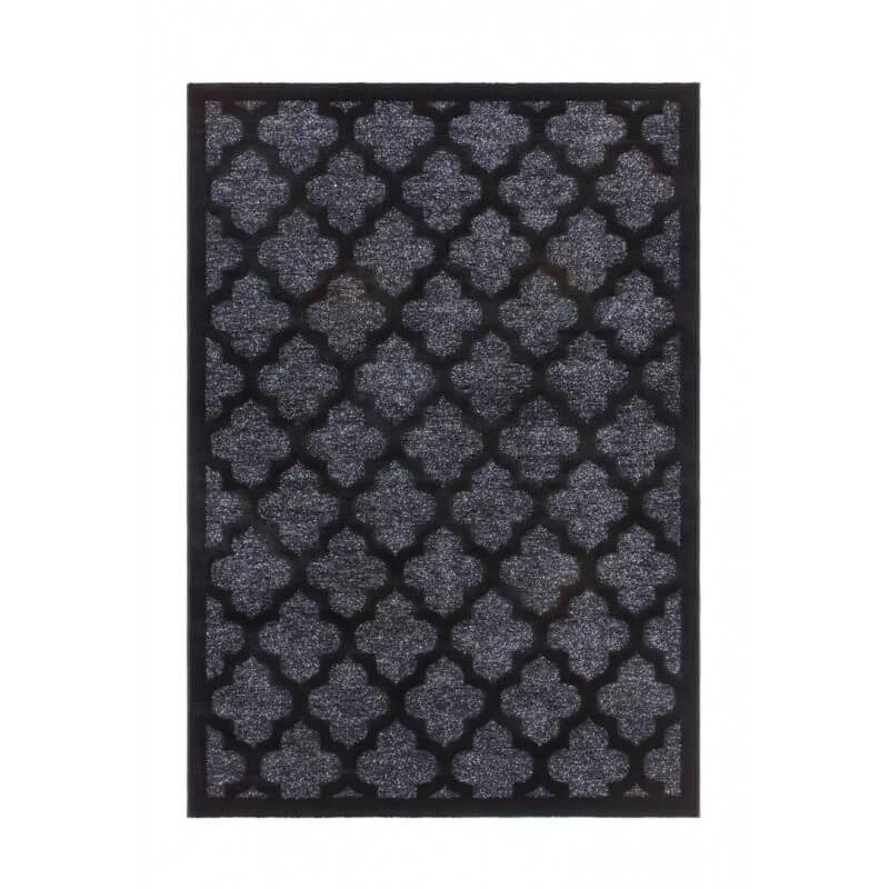 tapis en polypropyl ne brillant noir baroque melyna. Black Bedroom Furniture Sets. Home Design Ideas