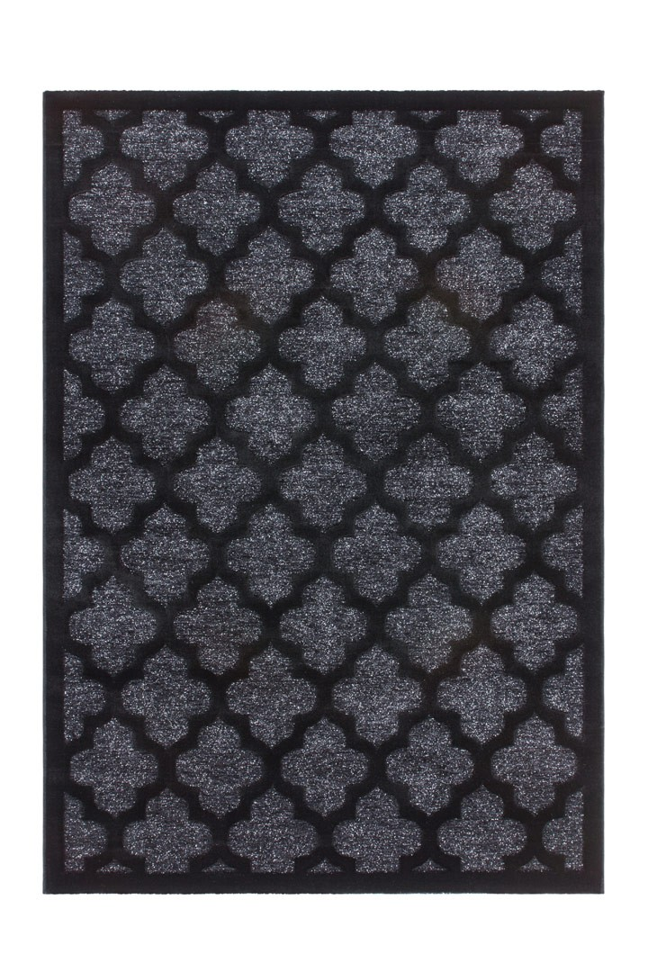 tapis en polypropyl ne brillant noir baroque melyna. Black Bedroom Furniture Sets. Home Design Ideas