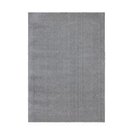 Tapis uni argenté polyester doux shaggy Vaguo