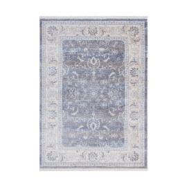 Tapis gris vintage avec franges en polyester Matthew