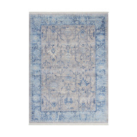 Tapis avec franges vintage polyester bleu et argenté Like