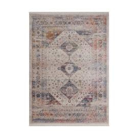 Tapis polyester vintage avec franges multicolore Remix