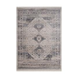 Tapis polyester vintage avec franges argenté Remix