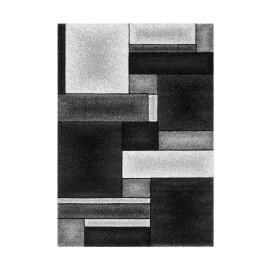 Tapis géométrique argenté effet 3D à courtes mèches Orane