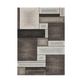 Tapis géométrique platine effet 3D à courtes mèches Orane