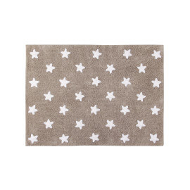 Tapis enfant beige lavable en machine Stars Lorena Canals
