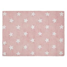 Tapis pour bébé rose lavable en machine Stars White Lorena Canals