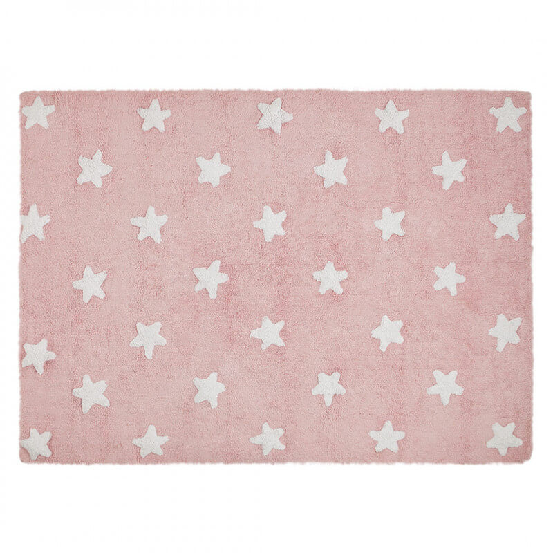 Tapis pour b b rose lavable en machine stars white lorena for Grand tapis lavable en machine