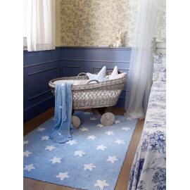 Tapis pour bébé bleu lavable en machine Stars White Lorena Canals