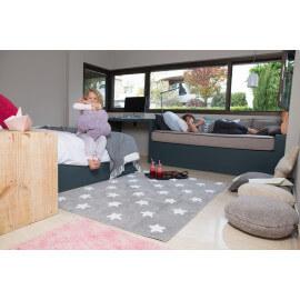 Tapis pour bébé gris lavable en machine Stars White Lorena Canals