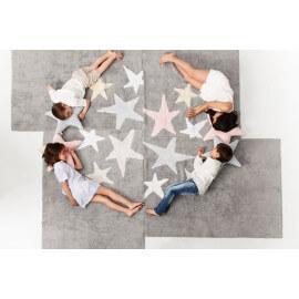 Tapis lavable en machine enfant en coton rose Tres Estrellas Lorena Canals