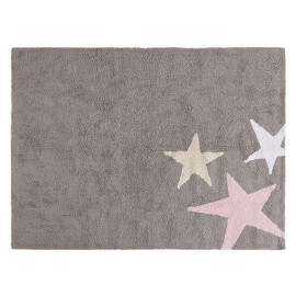 Tapis lavable en machine enfant en coton rose Tres Estrellas Lorena Canals