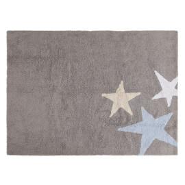 Tapis lavable en machine enfant en coton bleu Tres Estrellas Lorena Canals