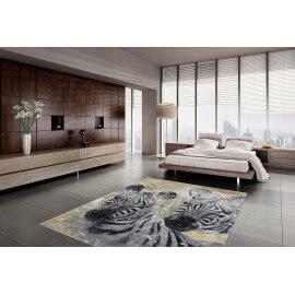 Tapis pour salon design argenté rectangle Crown