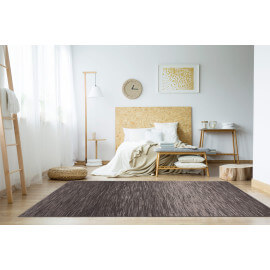 Tapis rayé argenté rectangle pour salon Loop