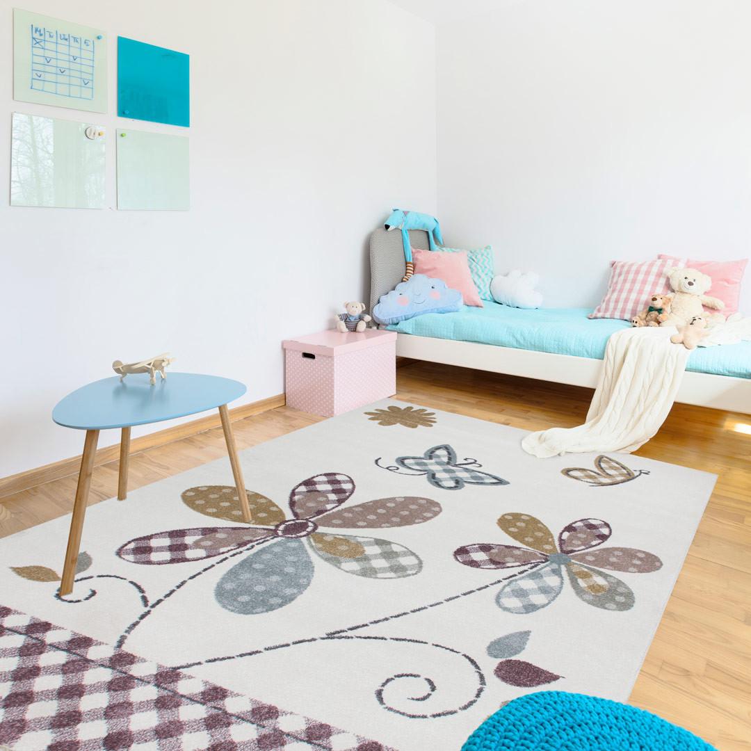 tapis multicolore pour chambre fille flowe. Black Bedroom Furniture Sets. Home Design Ideas
