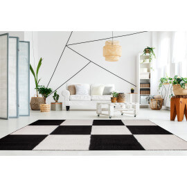 Tapis géométrique shaggy ivoire doux Jivan