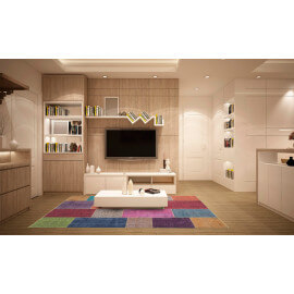 Tapis effet patchwork plat multicolore Moods