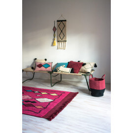 Tapis de salon fuschia ethnique lavable en machine Assa Lorena Canals