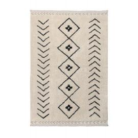 Tapis ethnique en coton fait main beige Bereber Rhombs Lorena Canals