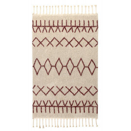 Tapis beige lavable en machine fait main Bereber Burgundy Lorena Canals