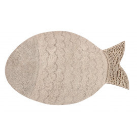 Tapis en forme de poisson lavable en machine beige Big Fish Lorena Canals