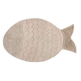 Tapis en forme de poisson lavable en machine beige Big Fish Lorena Canals