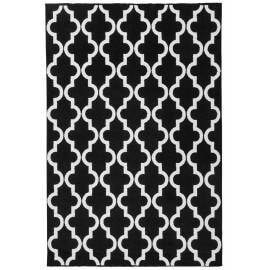 Tapis scandinave noir géométrique pour salon Riou